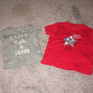 2 shirts from Carters. Size 6 month.